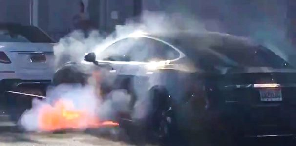 Tesla Fire Accident